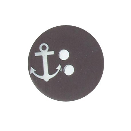 Round-shaped button with a silver anchor - brown/silver