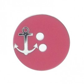 Round-shaped button with a silver anchor - pink