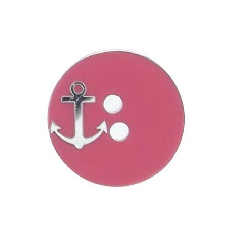 Bouton rond ancre rose / argenté