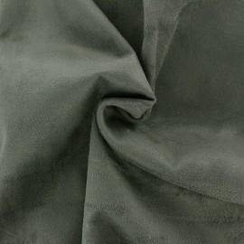 Tissu Suédine élasthanne Aspect daim - vert kaki x 10cm