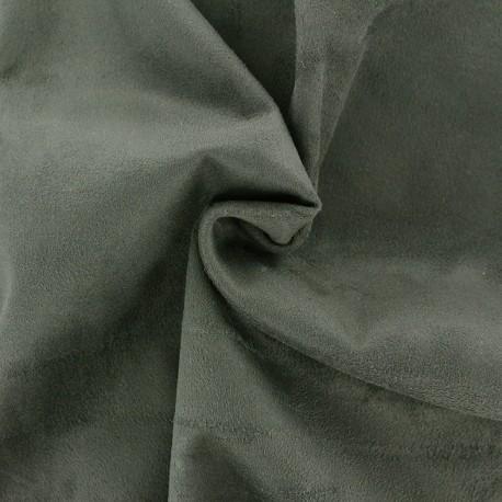 Suede elastane fabric Aspect Daim - khaki green x 10cm