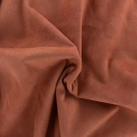 Suede elastane fabric Aspect Daim - brick red x 10cm