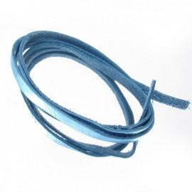Lacet cuir bleu métal