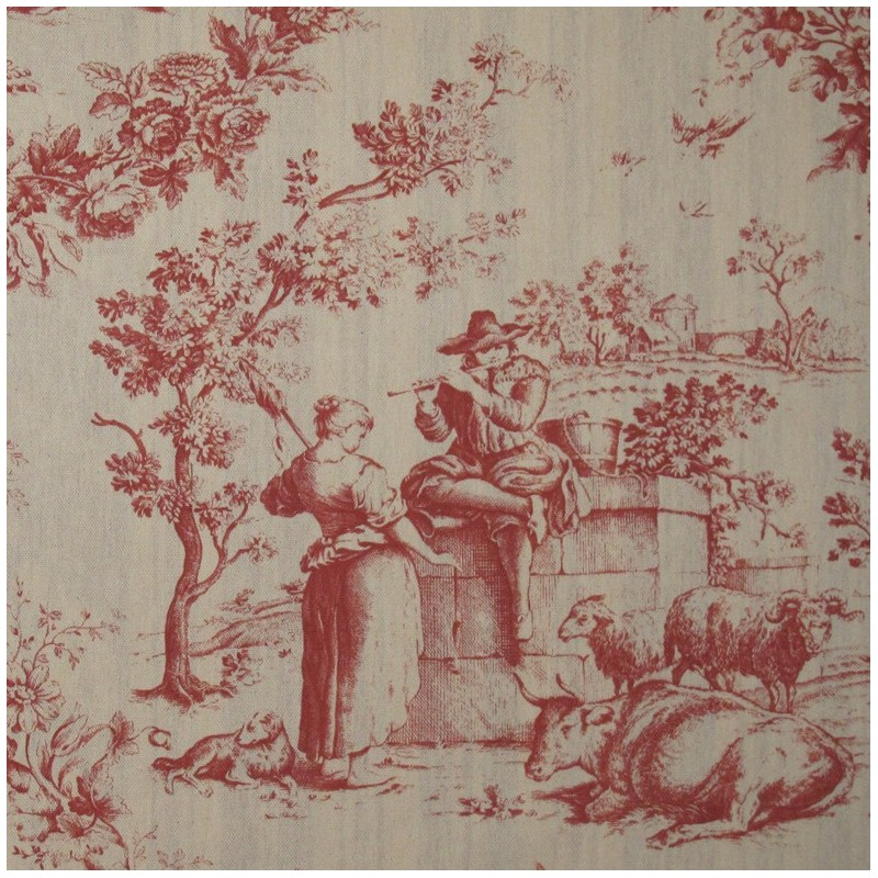 tissu toile de jouy courtisane rouge fond cru x 10cm ma petite mercerie. Black Bedroom Furniture Sets. Home Design Ideas