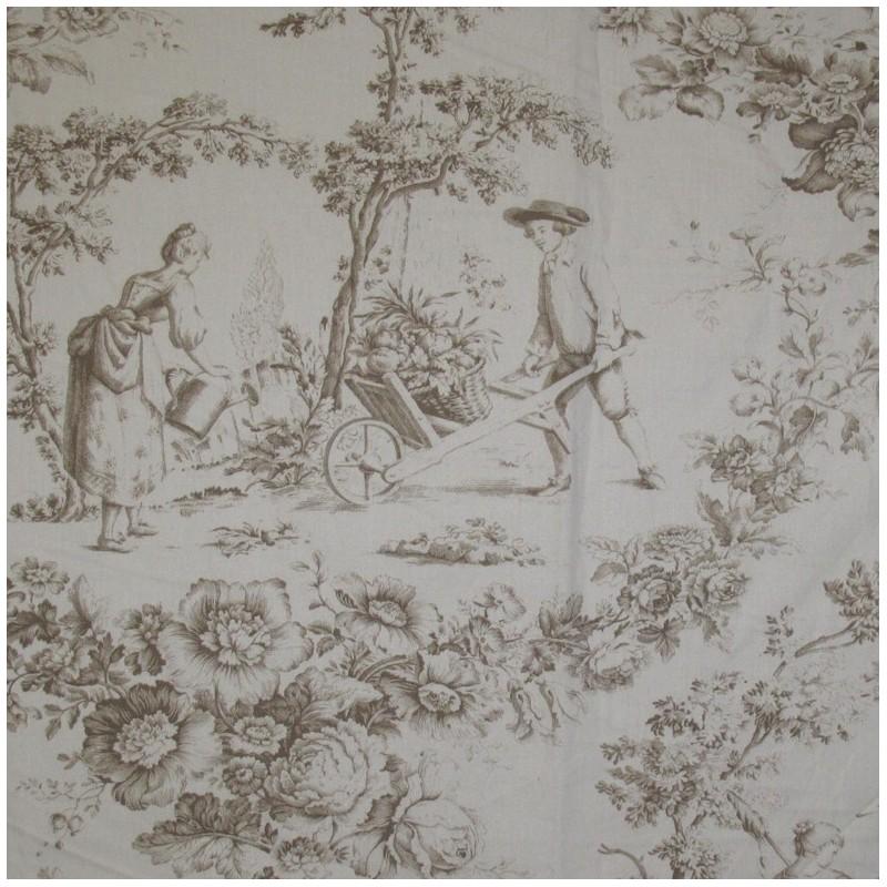 tissu percale de jouy courtisane beige x 10cm ma petite mercerie. Black Bedroom Furniture Sets. Home Design Ideas