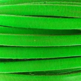 Cuir plat vert fluo par 50 cm