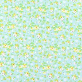 Tissu thermocollant à fleurs bleu clair (A4)