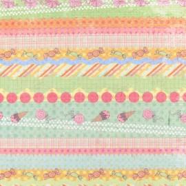 Tissu thermocollant Multicolore Rayé (A4)