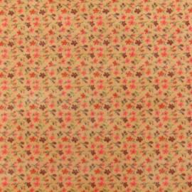 Tissu thermocollant feutre Fleuri beige (A4)