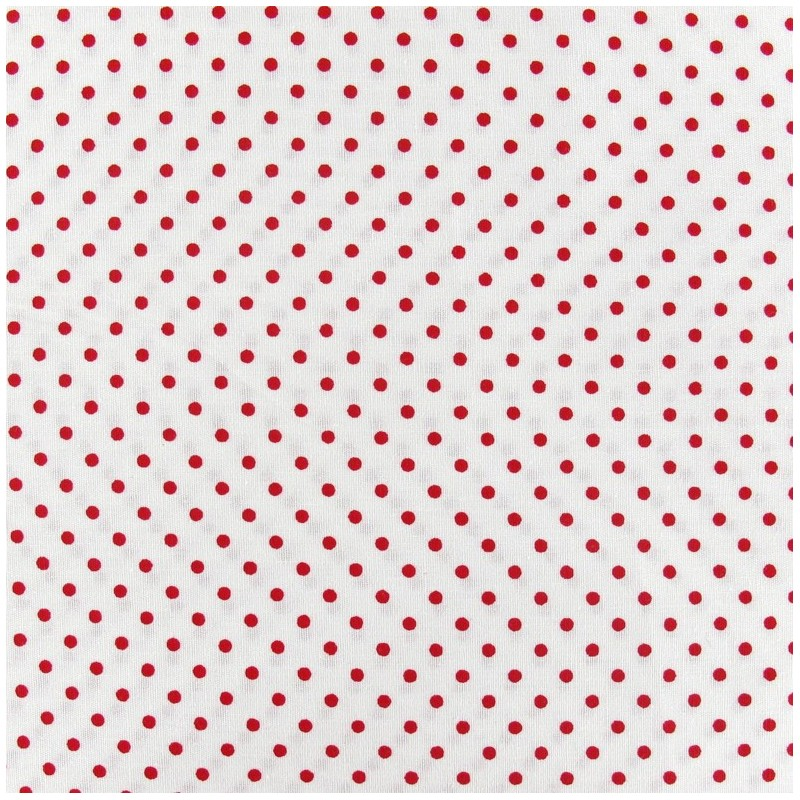 Tissu petits pois rouge fond blanc x 10cm