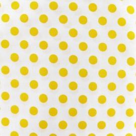 Tissu pois jaune fond blanc x 10cm