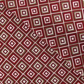Tissu crèpe graphique carmin x 10cm