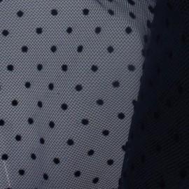 Tulle plumetis bleu nuit x10cm