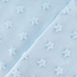 Tissu velours minkee doux relief à étoiles ciel x 10cm
