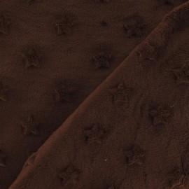 Tissu velours minkee doux relief à étoiles marron x 10cm
