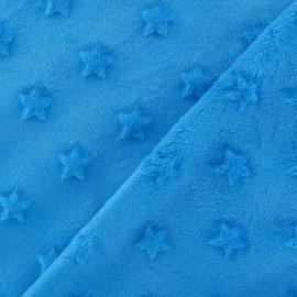 Tissu velours minkee doux relief à étoiles turquoise x 10cm
