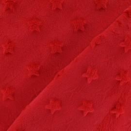 Tissu velours minkee doux relief à étoiles rouge x 10cm