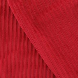 Tissu velours minkee à côtes rouge x10cm