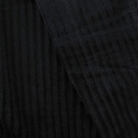 Tissu velours minkee à côtes noir x10cm