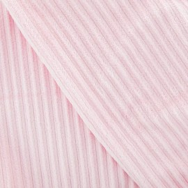 Tissu velours minkee à côtes rose pâle x10cm