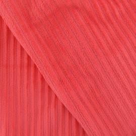 Tissu velours minkee à côtes corail x10cm