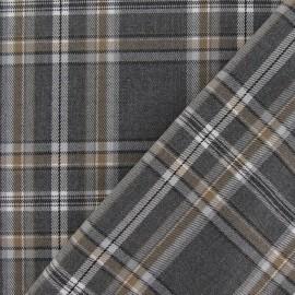 Tissu tartan carreaux gris x 10cm