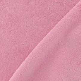 Tissu velours minkee doux ras rose x 10cm