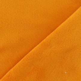Tissu velours minkee doux ras orange x 10cm