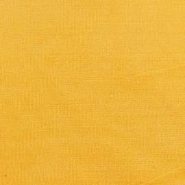 Tissu velours éponge jersey jaune x 10 cm