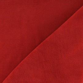 Tissu velours éponge jersey brique x 10cm