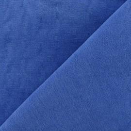 Tissu velours éponge jersey bleu de France x 10cm