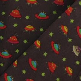 Tissu velours milleraies Spaceship chocolat x 10cm