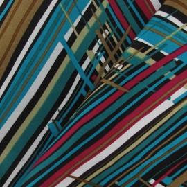 Tissu Gabardine Multi Zigzag turquoise x 10cm