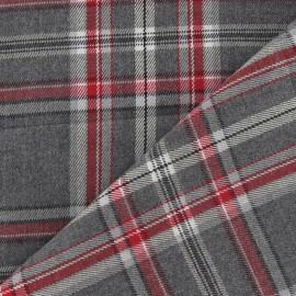 Tissu tartan carreaux gris / rouge x 10cm