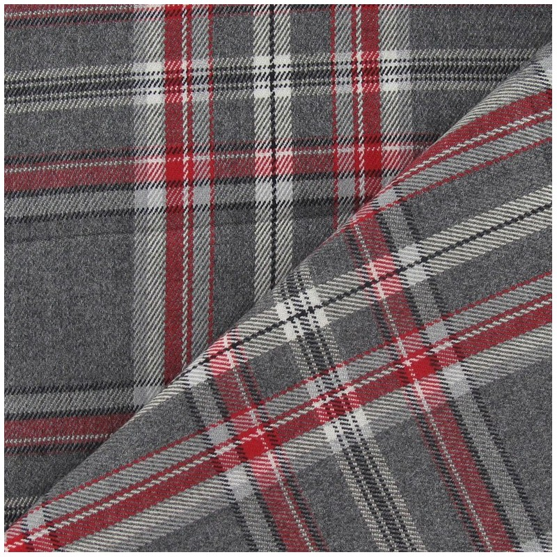 tissu tartan carreaux gris rouge x 10cm ma petite mercerie. Black Bedroom Furniture Sets. Home Design Ideas