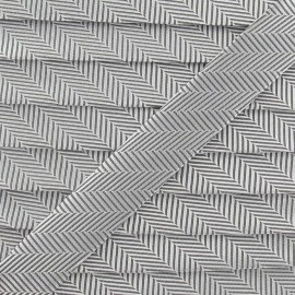 Biais satiné rayé B gris & blanc