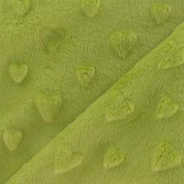 Tissu velours minkee doux relief coeurs anis x 10cm
