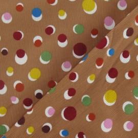 Tissu velours milleraies pois sable foncé x10cm