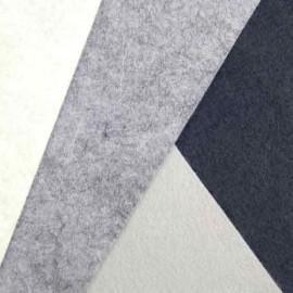 Feutrine de laine blanc/gris/noir