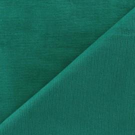 Tissu velours milleraies élasthanne vert prairie x10cm