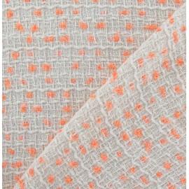 Tissu Tweed Orange fluo écru x 10cm