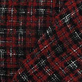 Tissu Tweed Vichy rouge et noir x 10cm