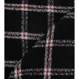 Tissu Tweed grand carreaux rouge et noir x 10cm
