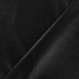 Simili cuir souple ajouré pois noir x 10cm