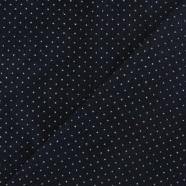 Tissu velours milleraies mini pois bleu nuit x 10cm
