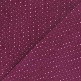 Tissu velours milleraies mini pois prune clair x 10cm