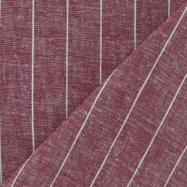 Tissu Chambray lin rayé grenat x 10cm