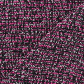 Tissu Tweed camaieu fil d'argent fuchsia x 10cm
