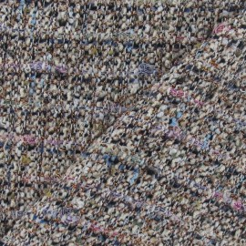 Tissu Tweed célébration fil d'or gris bleu x 10cm