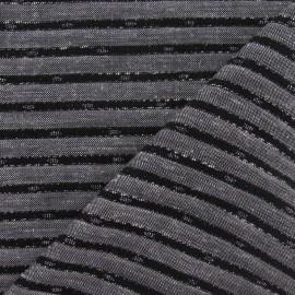Tissu lin rayure métallisé noir x 10cm